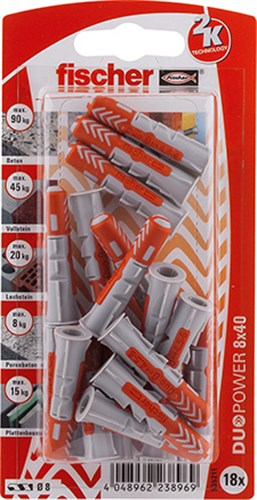 FISCHER DUOPOWER BLISTERKORT - 8X40 MM  K NV SB/18 STK